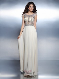 Bateau Short Sleeves Chiffon Long Dress