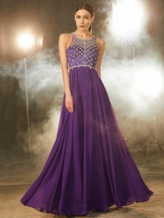 A-Line Chiffon Scoop Floor-Length Dress with Crystal