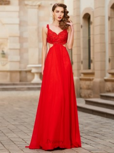 A-Line Straps Floor-Length Chiffon Dress with Applique