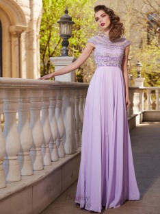 A-Line Scoop Short Sleeves Floor-Length Chiffon Dress with Beading