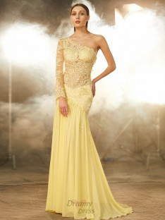 Sheath One-Shoulder Lace Sweep/Brush Train Chiffon Dress