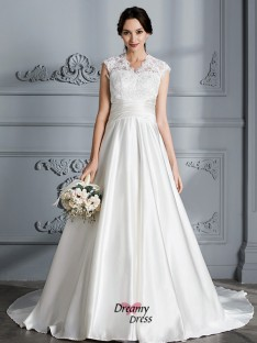 Ball Gown V-neck Court Train Satin Wedding Dress
