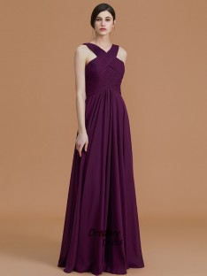 A-Line Halter Floor-Length Chiffon Bridesmaid Dress