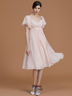 Empire Sweetheart Knee-Length Ruched Chiffon Bridesmaid Dress