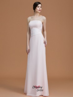 A-Line/Princess Strapless Floor-Length Ruched Chiffon Bridesmaid Dress