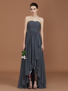 A-Line Asymmetrical Sweetheart Floor-Length Chiffon Bridesmaid Dress