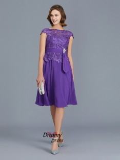 A-Line Bateau Chiffon Knee-Length Mother of the Bride Dress