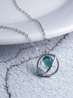 Korean Sterling Silver with Crystal Necklaces