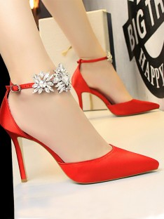 Leather Stiletto Heel Closed Toe High Heels