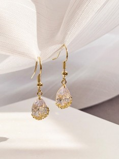 Rhinestone Water Drop Earrings
