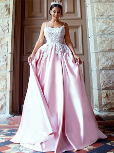 Ball Gown Spaghetti Straps Sweep/Brush Train Satin Dress