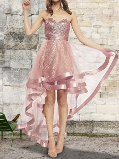A-Line Sweetheart Asymmetrical Sequin Organza Dress