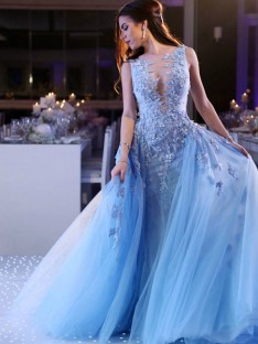 Ball Gown Scoop Sweep/Brush Train Tulle Dress