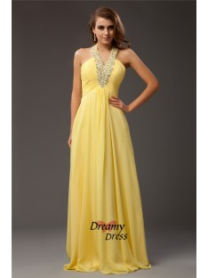 Sheath Halter Long Chiffon Dress