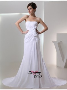 A-Line Strapless Pleated Chiffon Wedding Dress