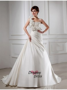 A-Line One-shoulder Satin Wedding Dress