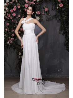 Sheath Halter Long Chiffon Wedding Dress