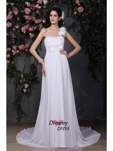 A-Line One-Shoulder Long Chiffon Wedding Dress