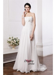 A-Line Strapless Long Chiffon Wedding Dress
