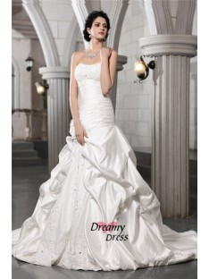 A-Line Strapless Long Satin Wedding Dress