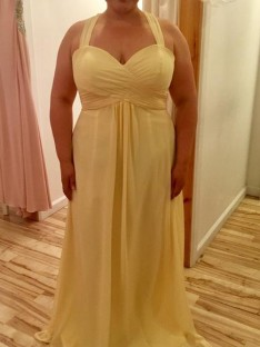 A-Line/Princess Halter Floor-Length Chiffon Plus Size Dress
