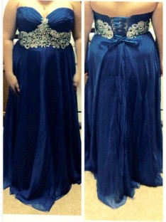 A-Line/Princess Sweetheart Floor-Length Chiffon Plus Size Dress