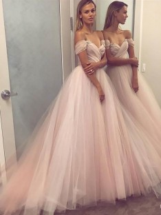 A-Line/Princess Off-the-Shoulder Tulle Floor-Length Dress