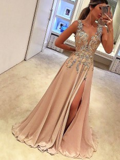 A-Line V-neck Floor-Length Silk like Satin Dress