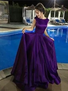 A-Line Bateau Floor-Length Satin Dress