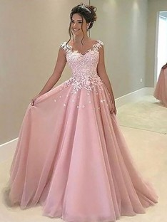 A-Line Sweetheart Floor-Length Tulle Dress