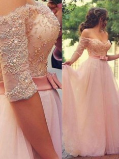 A-Line Off-the-Shoulder 1/2 Sleeves Floor-Length Tulle Dress