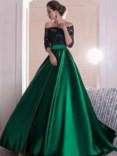 A-Line Off-the-Shoulder Lace Sweep/Brush Train Satin Dress
