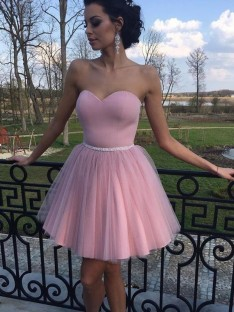 A-Line Sweetheart Tulle Short Dress