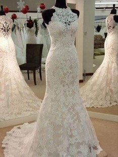 Sheath Scoop Sweep/Brush Train Lace Wedding Dress