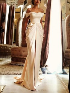 Sheath Sweep/Brush Train Off-the-Shoulder Satin Wedding Dress