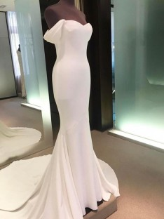 Sheath Off-the-Shoulder Court Train Satin Wedding Dress