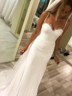 Sheath Sweetheart Spaghetti Straps Sweep/Brush Train Satin Wedding Dress