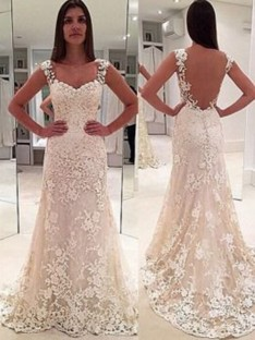 Sheath Straps Court Train Sweetheart Lace Wedding Dress