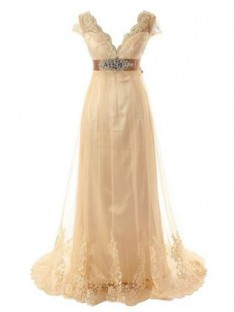 A-Line V-neck Sweep/Brush Train Lace Tulle Wedding Dress