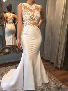 Mermaid Scoop Court Train Satin Wedding Dress