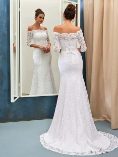 Mermaid Off-the-Shoulder Lace Sweep/Brush Train Wedding Dress