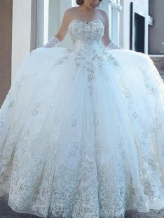 Ball Gown Sweetheart Tulle Cathedral Train Wedding Dress