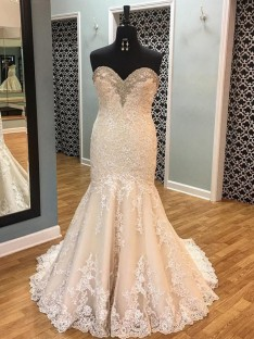 Mermaid Tulle Sweetheart Court Train Wedding Dress
