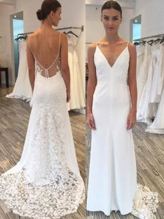 Sheath Satin Lace Spaghetti Straps Sweep/Brush Train Wedding Dress