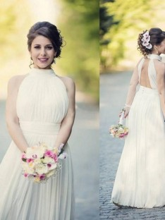 A-Line Halter Tulle Floor-Length Wedding Dress