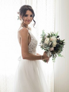 A-Line Lace Tulle Halter Floor-Length Wedding Dress