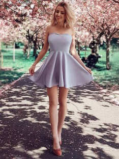 A-Line Strapless Satin Short Dress