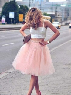 A-Line Tulle Pleats Spaghetti Straps Knee-Length Two Piece Dress