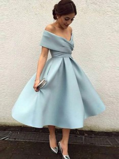 A-Line Off-the-Shoulder Satin Tea-Length Dress