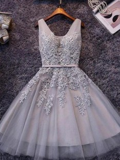 A-Line Straps Tulle Short Dress